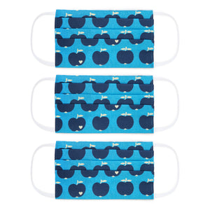 Kids face masks set / Apple blue