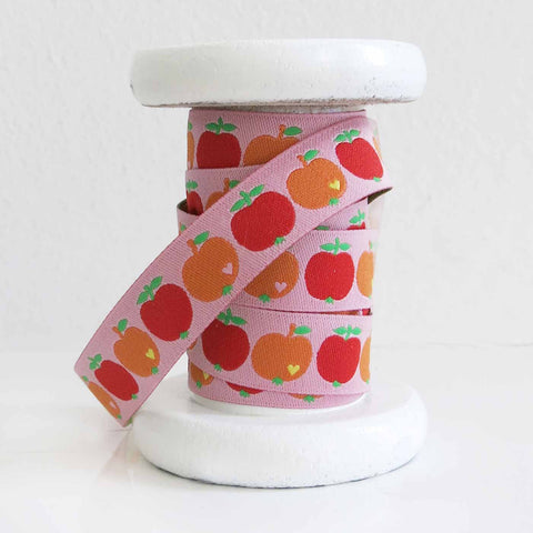 Woven ribbon / apples pink