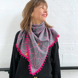 Heart knit scarf bundle / grey