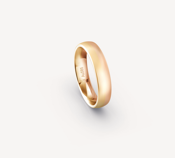 Two Tone Fine Matt Band in 14K Apricot and Rose Gold - 5mm
