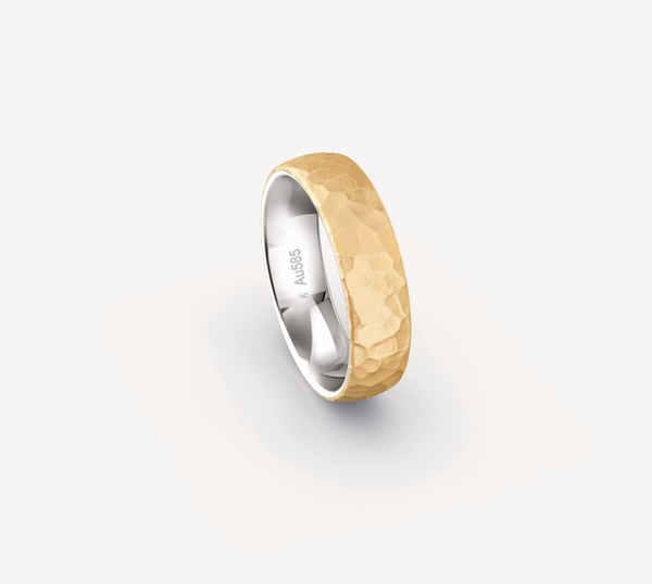 Hammer Finish Band in 14K Apricot Gold with White Gold - 6mm
