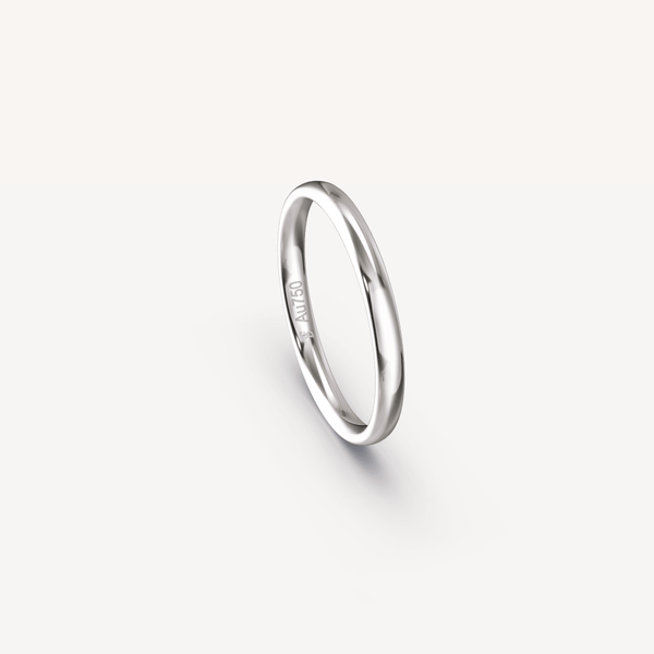 Polished Band in 18K White Gold - 2.5mm