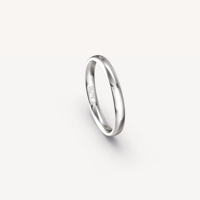Polished Band in 18K White Gold - 3mm