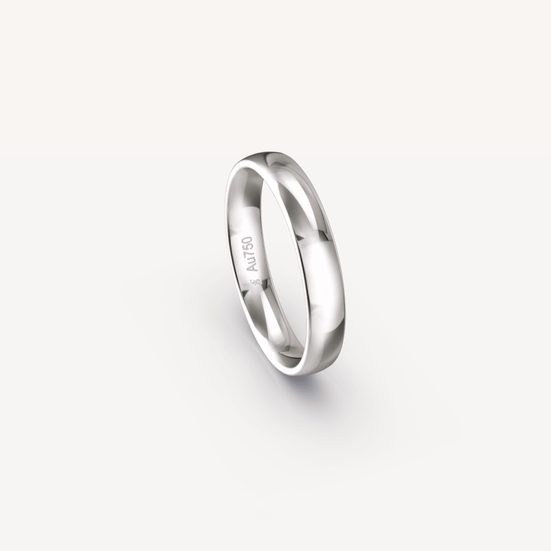 Polished Band in 18K White Gold - 4mm