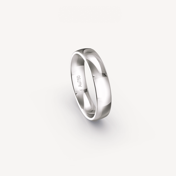 Polished Band in 18K White Gold - 5mm