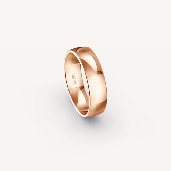 Polished Band in 18K Rose Gold - 6mm