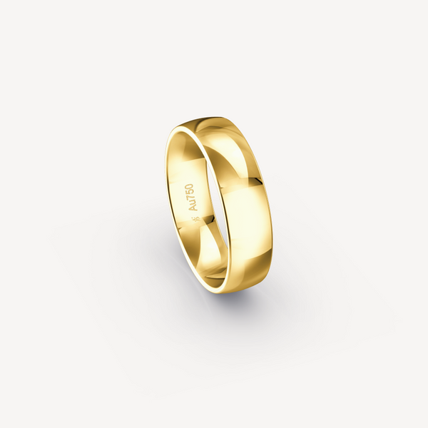 Polished Band in 18K Yellow Gold - 6mm