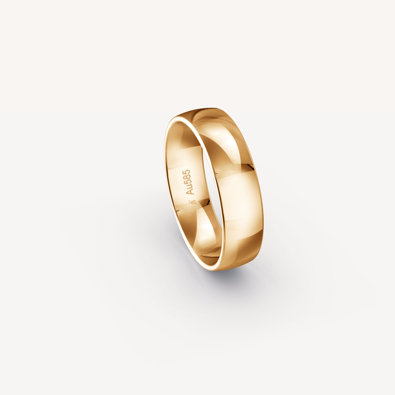 Polished Band in 14K Apricot Gold - 6mm