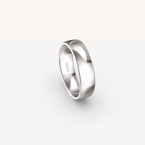 Polished Band in 18K White Gold - 6mm