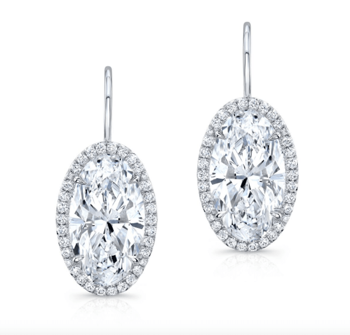 Moval Diamond Drop Earrings