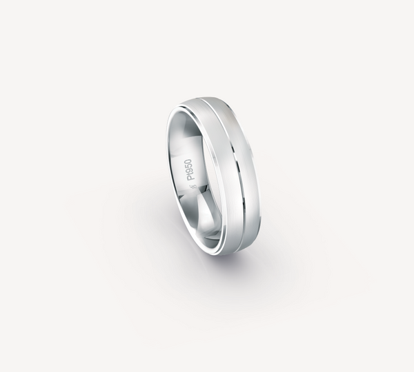 Fine Matt Band in Platinum with Stepped Edges and Center Groove - 6mm