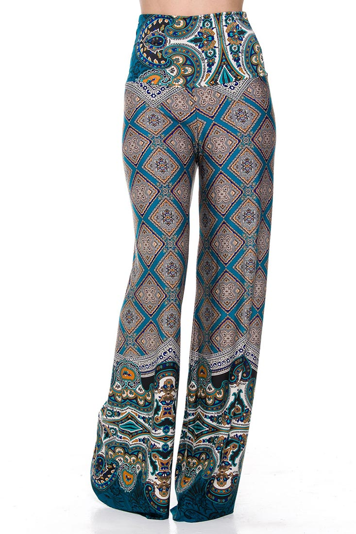 Plus size Palazzo Pants in Blue and Orange