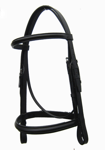 Saddlery Hub Show Bridle with Raised Noseband - Black. Snaffle.