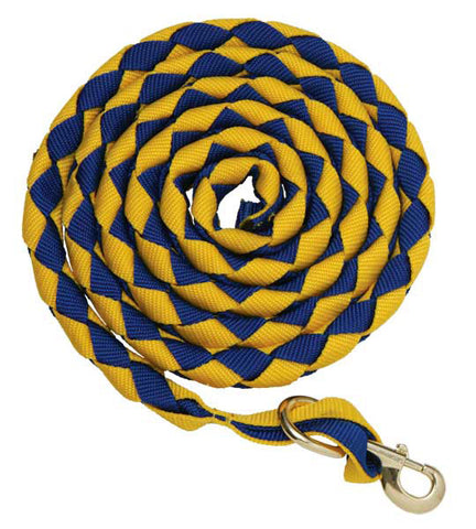 Zilco Plaited Nylon Lead with brass snap - Royal Blue/Yellow