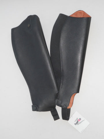 Horse Black Leather Gaiter - Large  Lined, zip closure, elastic insert, snap closure  Code: 37266  37cm Calf, 47cm height