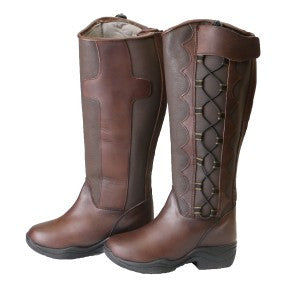 Wild Brumby Saddlery. Nevada Long Boots are made with beautiful soft leather and are the perfect winter boot for riding horses or working in and around the stables. You will never want to take these off - they are that comfortable!   Designed for practicality, support and comfort - these boots are a rider favourite.  Waterproof Comfort Lined Stylish design Arch support Back zip Adjustable lacing Stirrup friendly