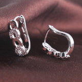 Wild Brumby Saddlery Christmas Gift ideas. Horseshoe 18k white gold filled Swarovski Crystal band hoop earring.