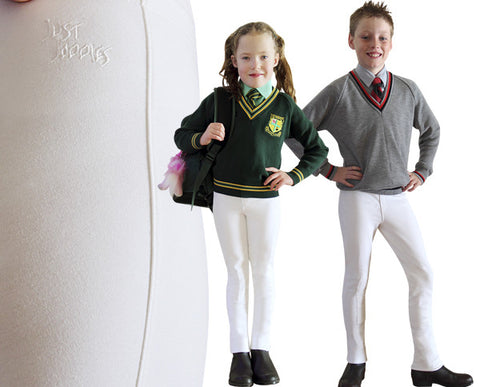Wild Brumby Saddlery, Lara. Cool cotton/lycra with knee inserts and faux fly, Just Joddies Child's Pull On Jodhpurs are ideal for Interschool's, Pony Club and Dressage Competitions. Always comfortable, durable and stylish. White