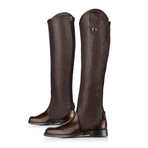 Horze soft leather gaiter has with a stretch panel near the YKK zipper so it can wrap neatly around the lower leg for a fitted look and close contact feel when riding. Color: Dark Brown - boots not included