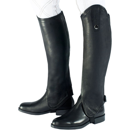 Horze soft leather gaiter has with a stretch panel near the YKK zipper so it can wrap neatly around the lower leg for a fitted look and close contact feel when riding. Color: Black - boots not included