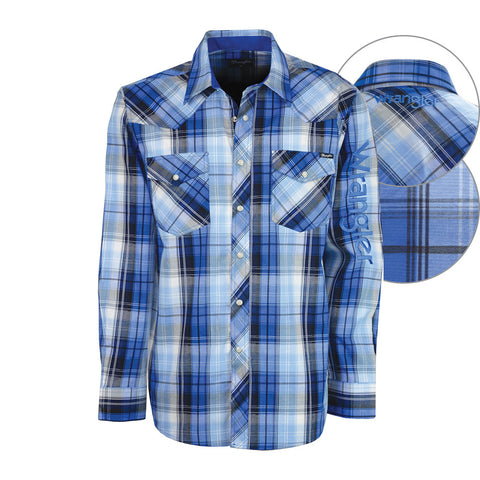 Wrangler Mens Logo Maitland Check Shirt Royal