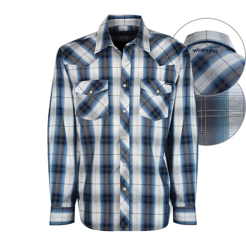 Wrangler Mens Aramac Check Shirt Navy