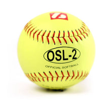 "Load image into Gallery viewer, OSL-2 Competition softball, size 12"", yellow, 1 dozen"