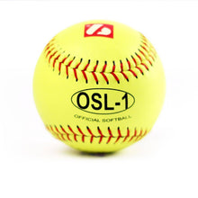 "Load image into Gallery viewer, OSL-1 High competition softball, size 12"", yellow, 1 dozen"