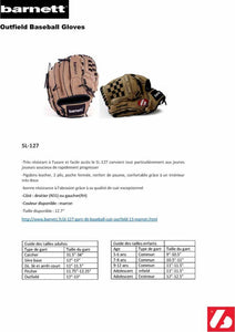SL-127 leather baseball glove, outfield, size 12.7, Brown