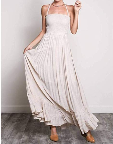 Smocked Halter Double Cross Back Ruffled Maxi Dress