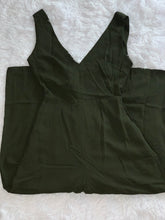 Load image into Gallery viewer, Tie Back V-Neck Cropped Jumpsuit Dark Olive