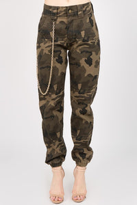 OLIVE CAMO PLUS SIZE JOGGERS WITH BULLDOG LONG CHAINS (New Arrival)
