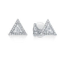 Load image into Gallery viewer, Trillion Diamond Halo Stud Earrings