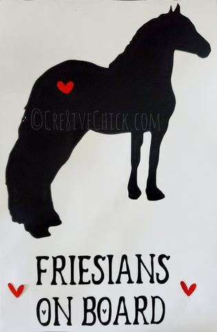 Friesian horse with heart trailer decal