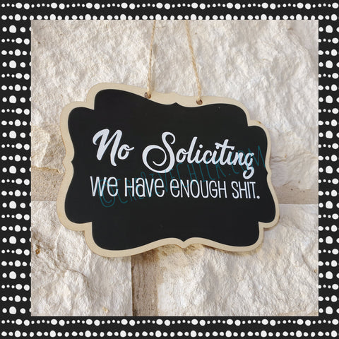 No soliciting WOOD SIGN