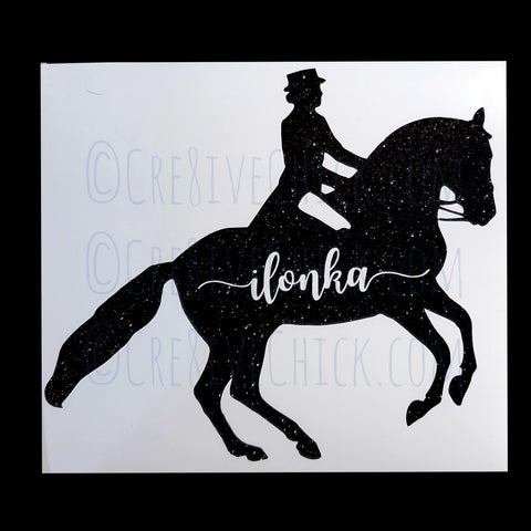 Dressage horse & rider with name TRAILER DECAL