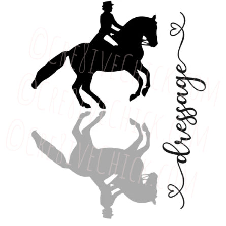 Dressage rider with shadow TRAILER DECAL