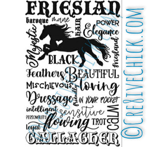 XL Friesian Lover Typography Decal with YOUR horse's name for Canvas, DIY wood sign or horse TRAILER