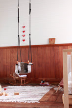 Load image into Gallery viewer, childrens sensory swing, safe baby swing indoors made from fabric and wood