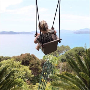Natural Baby Swing outside, Wooden Infant Swing outdoors