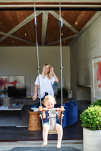 Load image into Gallery viewer, convertable childrens swing, safe sensory baby swing indoors made from fabric and wood