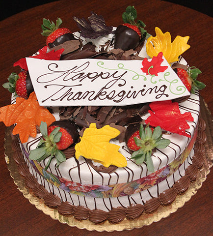 THX-001 Display Strawberry Grand Marnier Cake with Fall Decor
