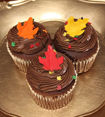 CC-030 Display Fall decor chocolate cupcake filled with white mousse.