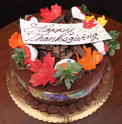 Display Tiramisu cake with Fall Decor