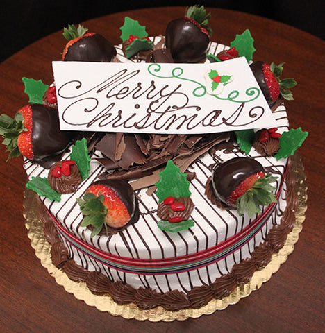 CH-003 Display Strawberry Grand Marnier Cake with Christmas Decor