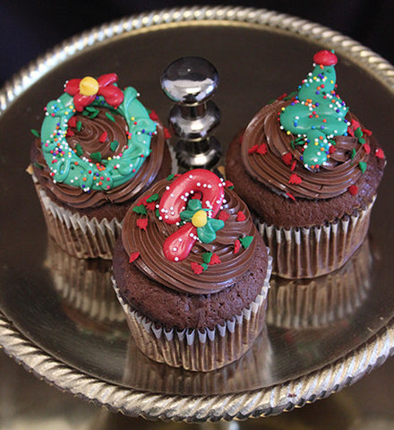 CC-026 Display Christmas Decor Chocolate cupcake with white filling.