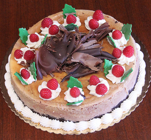 Cheesecake-Raspberry Chambord with Christmas decor
