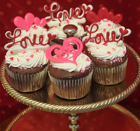 VC-008 Display Valentine chocolate cupcake with white filling..