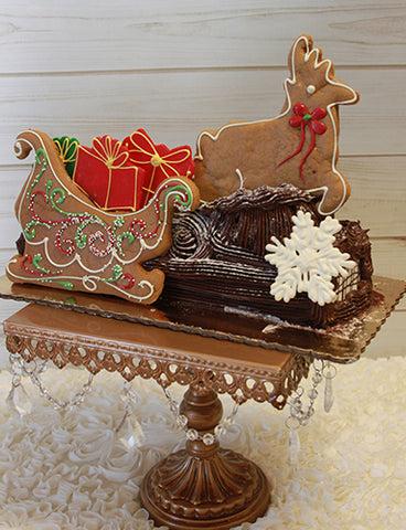 CH-028 Yule Log Small Santa Sleigh