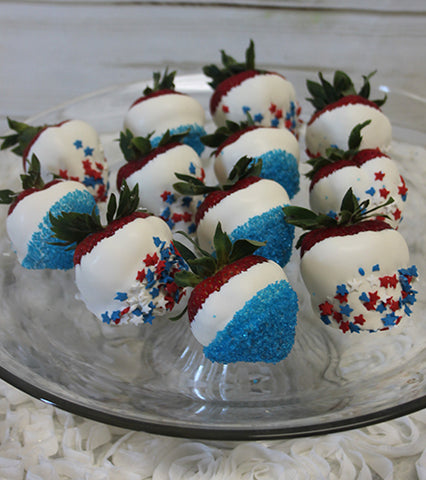 AP-090 White dipped strawberries with Fourth of July decor